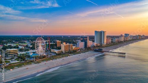 Pier in Myrtle Beach South Carolina SC Drone Aerial