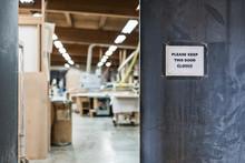 Information Sign At The Entrance Of Workshop