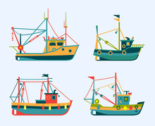 Flat Colorful Fishing Boats. S...