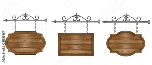 Photo set wooden sign boards banners vector
