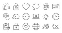 Report, Time And Globe Line Icons. Statistics, Light Bulb And Gift Surprise Box. Linear Icon Set. Quality Line Set. Vector