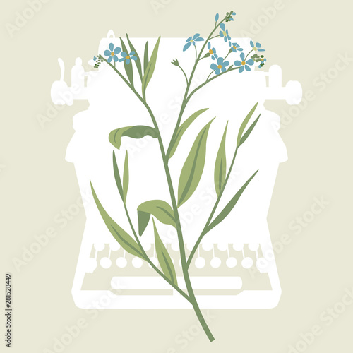 Branch of forget-me-not flowers on top of silhouetted vintage typewriter. Concept for romantic memory, poetry and creative writing.