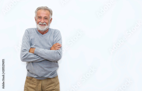 Stampa su Tela  Portrait of healthy happy smile senior elderly caucasian old man face with arm crossed isolated on white