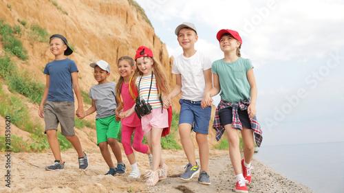 Cute little children outdoors on summer day. Camping trip Slika na platnu