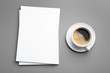 canvas print picture Blank paper sheets for brochure and cup of coffee on grey background, flat lay. Mock up