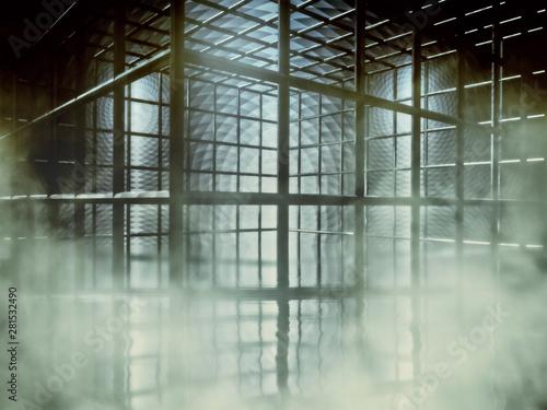 Tela  Smoky, foggy cage with wet floor