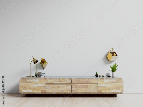 Obraz TV stand,TV cabinet mockup in modern empty room,white wall, 3d rendering - fototapety do salonu
