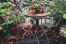 Red Pelargonium On Vintage Table In Garden