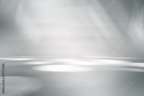 perspective floor backdrop black room studio with gray gradient spotlight backdrop background for display your product or artwork  - 281535066