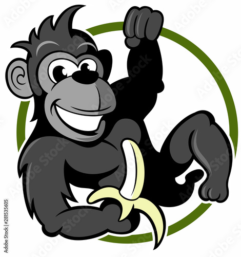 Canvas Prints Baby room Monkey, cartoon style gorilla character with banana.