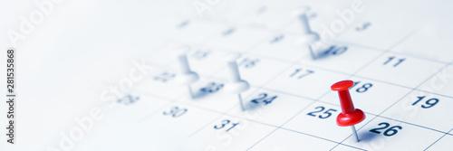 Obraz Tacks On Calendar Page/Business Concept - fototapety do salonu