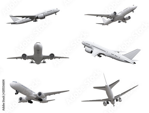 airplane isolated on white background. 3d rendering.  Fototapete