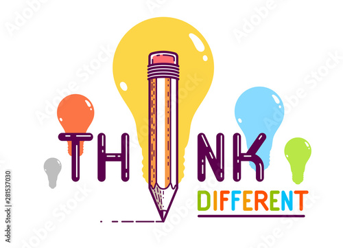 Think different word with pencil instead of letter I, ideas and brainstorm concept, vector conceptual creative logo or poster made with special font.