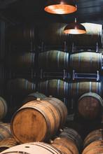 Stack Of Oak Wine Barrels In W...