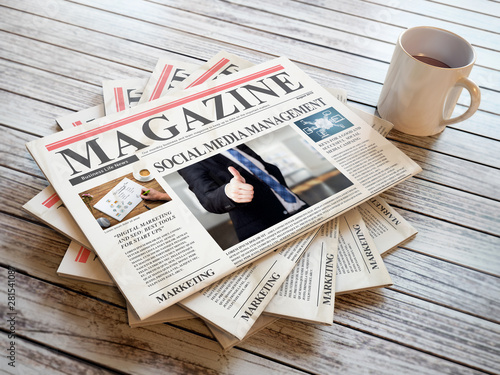 Foto auf AluDibond London Newspapers with marketing articles on wooden background