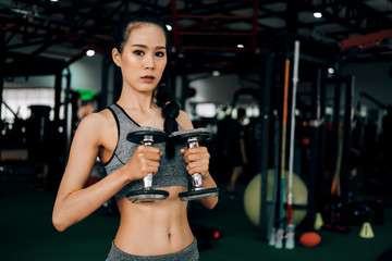 Fototapeta na wymiar sport woman at fitness gym club doing exercise for arms with dumbbells and showing muscle bodybuilding, fitness concept, sport concept