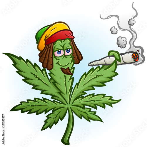 A cheerful marijuana vector cartoon character getting high and smoking a huge ro Tablou Canvas