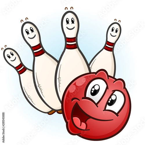 A happy red bowling ball with a partial set of pins ready to