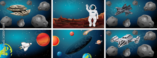 Poster Jeunes enfants Sets of different space scenes