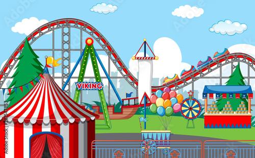 Fotobehang Kids An outdoor funfair scene