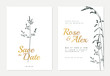 Botanical wedding invitation card template design, dark green silhouette grass flowers on white