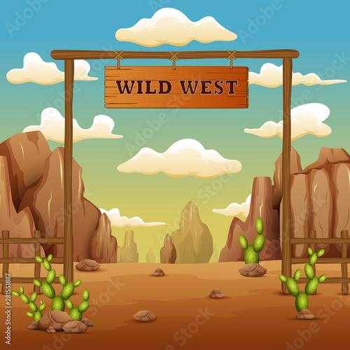Fotomural  A desert gate landscape cartoon in the wild west