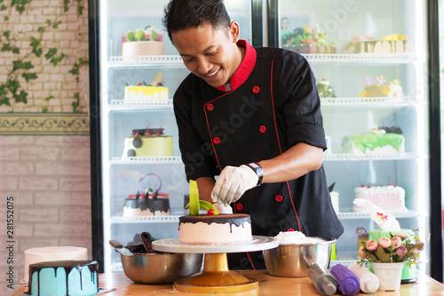 Fototapeta  potrait of asian pastry chef