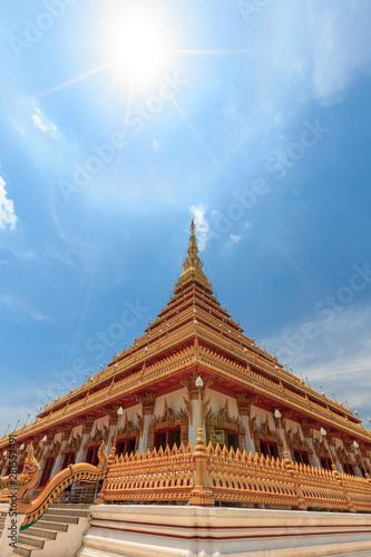 The church has a beautiful golden color in  Phra Mahathat or Wat Nong Wang temple.  Khon Kaen, thailand