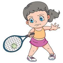 Cartoon Happy Young Girl Playi...