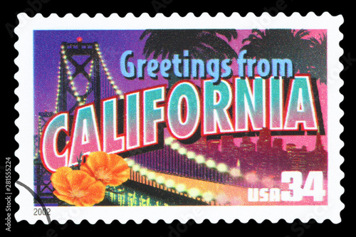 Papel de parede UNITED STATES OF AMERICA – CIRCA 2002: A postage stamp printed in USA showing an image of California state, circa 2002
