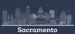 Outline Sacramento California City Skyline with White Buildings.
