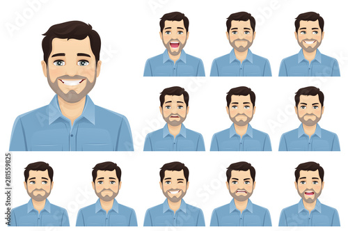 Handsome bearded man with different facial expressions set vector illustration i Fototapet