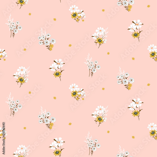 Flowers daisy vintage tender colors seamless vector pattern.