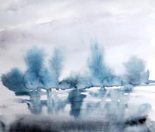Watercolor Landscape,  Blue Trees, River, Watercolor Winter