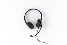 Customer Service Headset On White Background. Call Center Concept