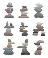 Set Of Towers Of Stones. Vecto...