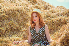 Country Vintage Mix Style, Nice Redhead Woman . Portrait Of Nice Lady At Hayloft
