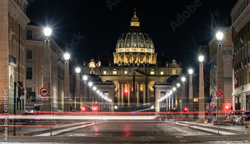 St. Peter's Cathedral in the Vatican in the evening
