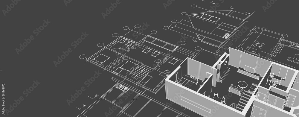 Fototapeta house architectural project sketch 3d illustration