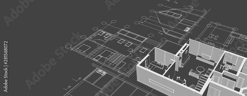 Cuadros en Lienzo  house architectural project sketch 3d illustration