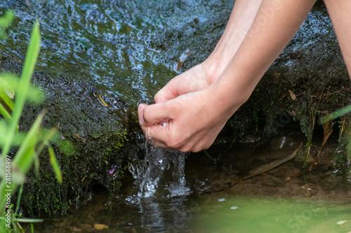 Cuadros en Lienzo Durch Kinderhände fließt klares Quellwasser in einem naturbelassenen Wald mit Fa