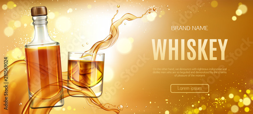 Whiskey bottle and glass with ice cubes and splash mockup banner Canvas Print