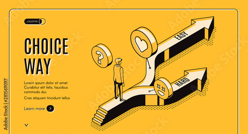 Cuadros en Lienzo Choice way isometric landing page, businessman stand on road fork with hard and