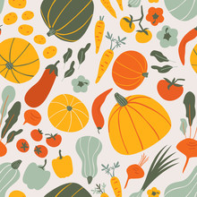 Healthy Vegan Food Doodle Seamless Vector Pattern For Kitchen Wallpaper, Textile, Fabric, Paper. Flat Hand Drawn Vegetables Background For Vegan, Farm, Eco Design