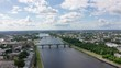 Panorama of the city of Tver, Russia. Aerial view. Volga River, From Drone