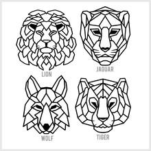 Set Of Polygonal Head Animals....