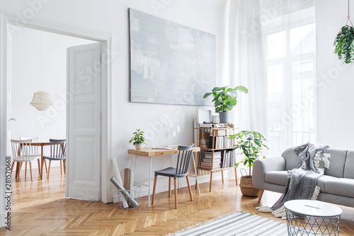 Fotomural  Stylish scandinavian open space with design furniture, plants, bamboo bookstand and wooden desk