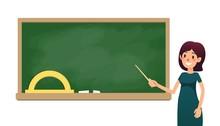School Teacher In Classroom Near Blackboard. Cartoon Flat Women With Pointer Is Teaching Lesson. Female Teacher On Lesson Showing On Board. Vector Illustration