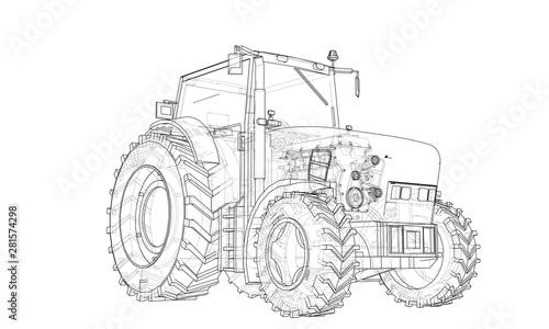 Obraz na plátně Farm Tractor Concept. Vector