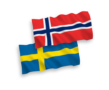 National Vector Fabric Wave Flags Of Norway And Sweden Isolated On White Background. 1 To 2 Proportion.